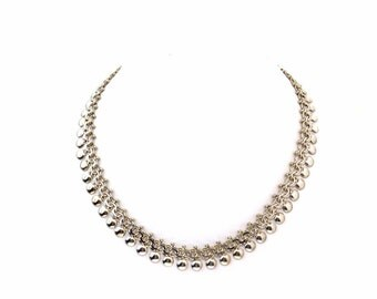 Vintage Victorian Revival Solid 800 Silver Book Chain Necklace