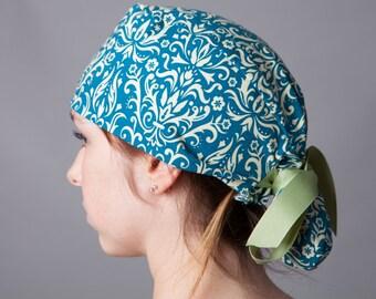 Surgery Hat, Scrub cap, Ponytail Scrub cap, Surgery cap~ Teal/Butter Filigree