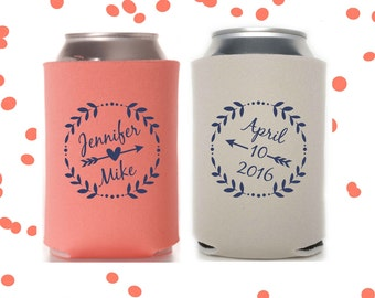 Wedding Can Coolers   Personalized Bride & Groom Wedding Favor   Custom Design Party Supplies   FREE Standard Shipping