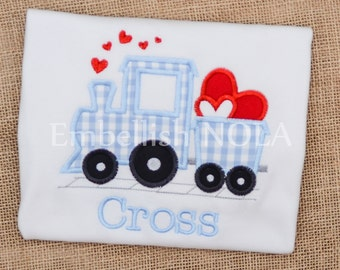 Valentine Train Applique Shirt or Bodysuit Valentine Shirt