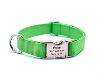 WINTER SALE 15% off Laser Engraved Personalized Buckle Webbing Dog Collar - LIME Zest