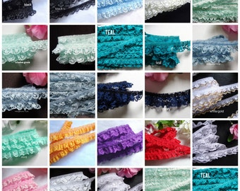 Ruffled Lace, 3/4  inch wide selling by the yard/select color