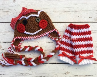Baby Girl Gingerbread Christmas Hat with Leg Warmers, Newborn, 0-3 Months - Photography Prop - MADE TO ORDER