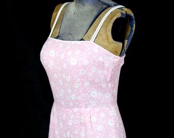 1960s Swimsuit // Pink Floral Cotton Summer Sunsuit