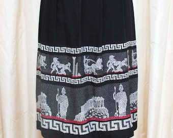 1950s Skirt // Ancient Greece Woven Novelty Border Print Skirt