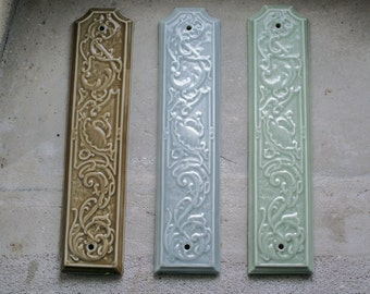 Antique French Push Plate // Vintage Porcelain Door Plate // Architectural Salvage