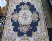 Vintage Aubusson Rug French Needlepoint Pink Roses Blues Baskets 4x6 Estate