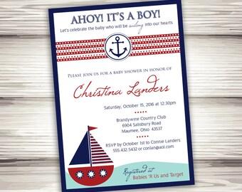 Nautical Baby Shower Invitation - Printable Digital File