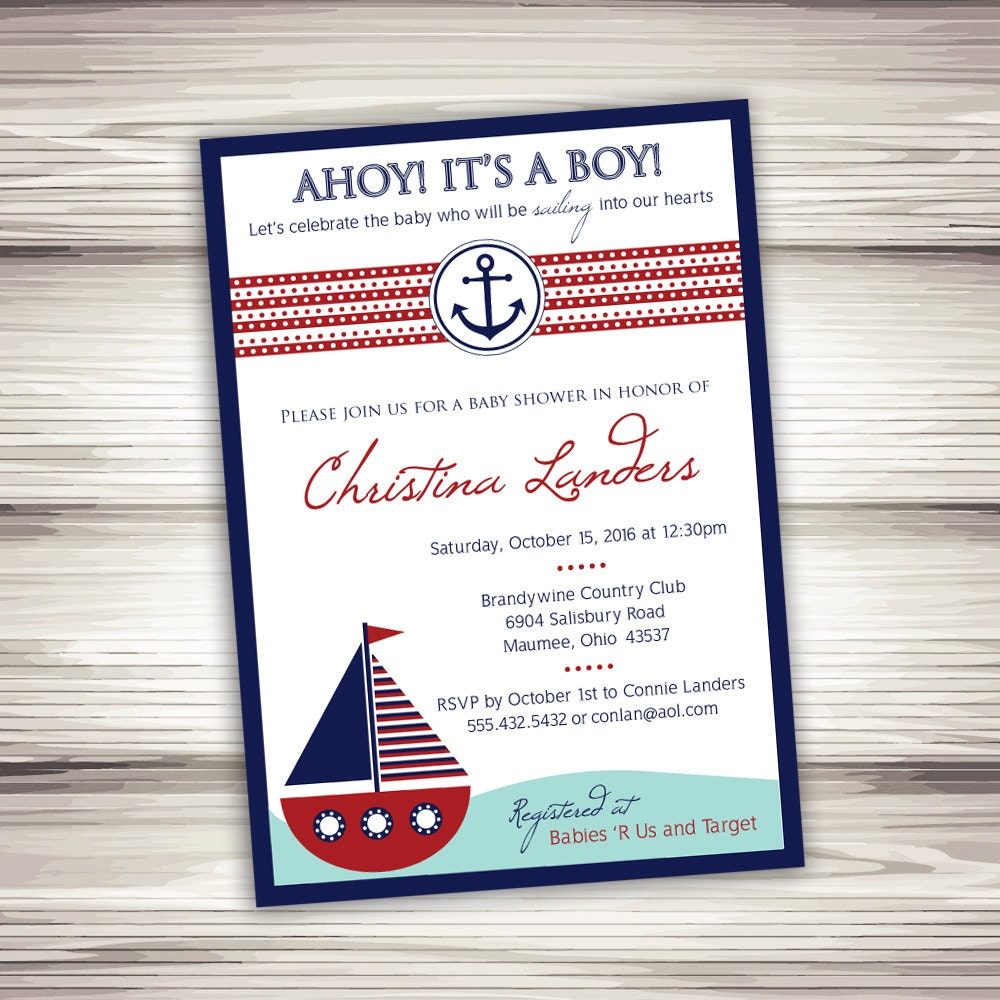 nautical baby shower invitation printable digital file