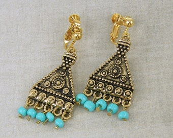 Turquoise Gold Clip on Earrings - Tribal Turquoise Bead Triangle Granulated Dangle Screw Back Earrings |EC1-28