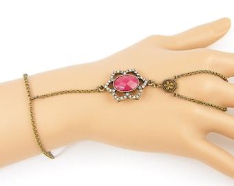 Red Slave Bracelet, Brass Slave Bracelet, Red Hand Bracelet, Rhinestone Charm Hand Bracelet, Bohemian Body Jewelry |BC1-34