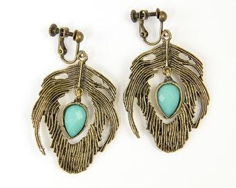 Boho Clip Earrings Feather Clip Earrings Aqua Teardrop Clip Earrings Antique Brass Dangle Clip Earrings Turquoise Screw Back Earrings  EC1-4