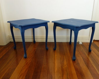 Pair of side tables Freshly painted in ASCP blue