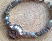 Labradorite and fine silver tribal elephant disk bracelet // gift elephant bracelet