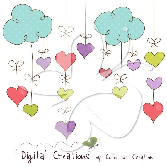Hanging Hearts Digital Clip Art Clipart Set - Commercial and Personal Use