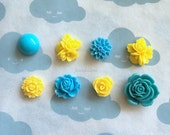 Magnets, Blue Yellow Locker Magnets, BACK TO SCHOOL, Flower Fridge Magnets Set, Kitchen Decor, Office Stationery, Bridesmaids Gift