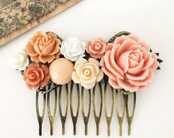 Peach Hair Comb Wedding Bridal Headpiece Coral Pink Soft Cream Ivory Apricot Flower Woodland Affordable Floral Bridal Hair Accessory WR