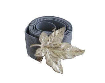 Silver Leaf Waist Belt, Gray & Silver Waist Belt - Vintage Style, Evening Waist Belt, Leaf  Belt