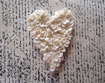 Heart Wedding Decor Bridesmaid Gift Vintage Decor Shabbychic Decor Boho Decor Beige Cream Felt Heart