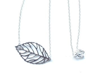 Simple Silver Leaf Necklace - Minimalist Handmade Jewelry - Charm Necklace - Great for Layering
