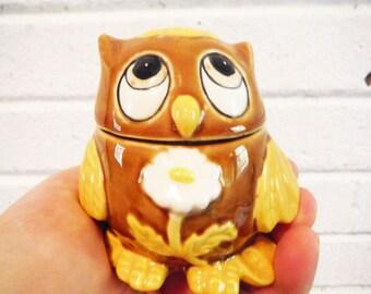 Owl lidded scent bead holder potpourri box bathroom deodorizer decor retro vintage