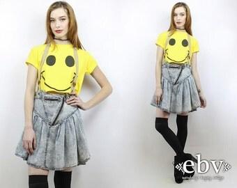 90s Overalls Dress Acid Wash Denim 80s Mini Skirt 90s Denim Skirt Vintage 80s Acid Wash Jean Skirt L Suspenders Dress 90s Dress 80s Dress