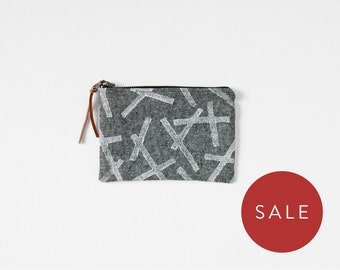 Small Zipper Pouch - Block Print Coin Purse - Chambray Wallet - Gift for Bridesmaid
