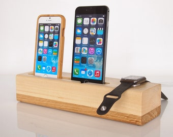 Dual iPhone dock + Apple Watch dock / iPhone charging station / iPod touch dock -  unique present