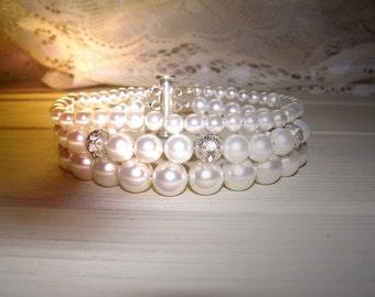 Bridal bracelet,  Three strands, Wedding jewelry, Pearl Wedding Bracelet