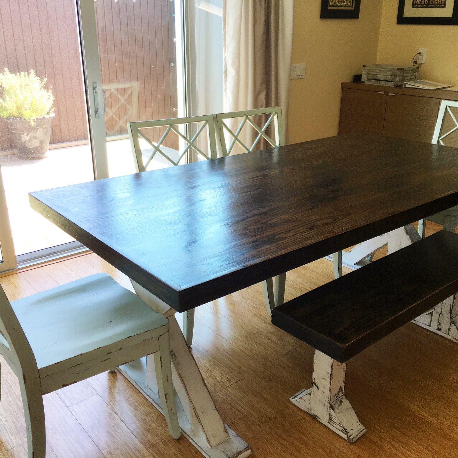 Farm style table farmhouse table with benches reclaimed