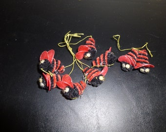 Chenille Bumble Bee Ornaments Lot of 8 Vintage Craft Supply