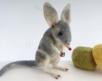 Needle Felt Australian animal Bilby soft sculpture posable wire armature unique gift
