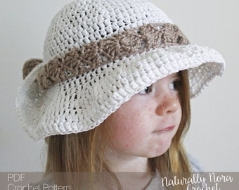 Crochet Pattern: The Maisie Sun Hat-3 Sizes Included Toddler, Child, Adult-summer, lace, straw, raffia