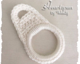 White towel ring holder, slips over a cupboard or drawer knob! Dish towel holder, hand towel holder, towel ring, cabinet towel holder