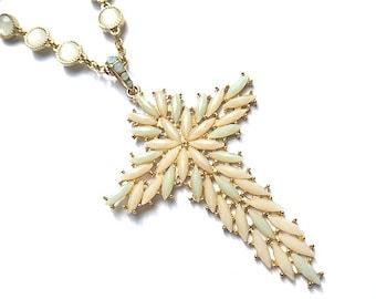 XL Vintage Opal Look Goldtone Beaded Cross Necklace, Pink & Blue Opal Beaded Cross Necklace, Fancy Gold Cross Pendant, Beaded Neck Chain