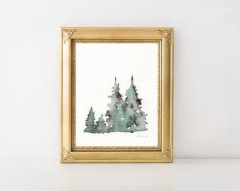 Winter's Edge, Winter Trees, Watercolor Print, Christmas tree, Minimal watercolor, nature, woodland