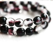 30%OFF SALE Czech round beads, Black, Clear, Purple mixed color, druk, glass spacers, pressed beads - 5mm - 40Pc - 1067
