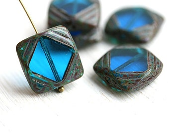 Aqua blue Square beads, Picasso Czech glass beads, table cut, squares - 15mm - 4Pc - 2551