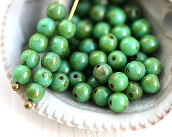 4mm Turquoise Green picasso beads, round spacers, czech glass, rustic, druk, 50Pc - 0759