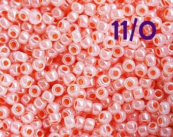 Pink Seed beads, Toho size 11/0, Ceylon Peach Blush, N 905, pinky glass beads - 10g - S197