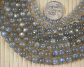 Beautiful Natural Labradorite Gemstone (4/6/7/8mm) Round Beads, 16-Inch Strand G01108