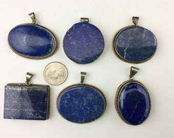 Natural Lapis Lazuli Gemstone Bead (German Copper Framed) Pendant LN0001