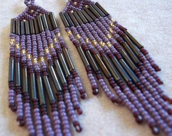 Purple, Burgundy, Gold and Brown Iris, Seed Bead, Dangle, Fringe Earrings, Statement Earrings, Boho Earrings, Bold Earrings, Bead Weave