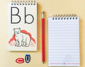 Alphabet notebook (cover is a vintage flash card)