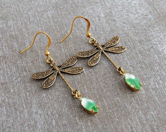 Dragonfly Earrings ... art nouveau earringis, elegant earrings, green earrings, green gold earrings, vintage style