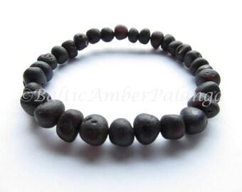 Raw Unpolished Black Baltic Amber Bracelet