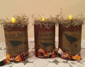 Fall Faux Rusted Cans Prim Tea Light Housewarming Gift Fall Decor Prim Sill Setters Handmade Set of Three Ready To Ship Holiday Prim Home
