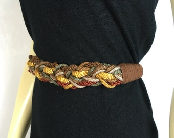 Vintage Belt 70s 80s Braided Rope Belt Earth Tones Brown Beige Cranberry Red Gold Medium to Large