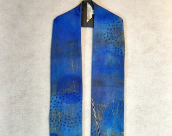 Advent Clerical Stole, Hand Dyed and Painted Cotton, Metallic Highllights