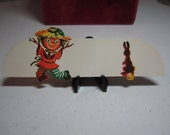 Vintage unused 1940's-50's die cut halloween fall themed place card jack o'lantern scarecrow dancing in front of rabbit